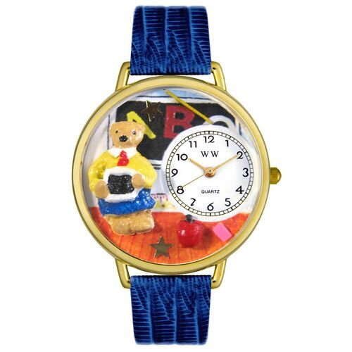 Whimsical Watches Unisex Teacher Teddy Bear Royal Blue Leather and Goldtone Watch in Gold