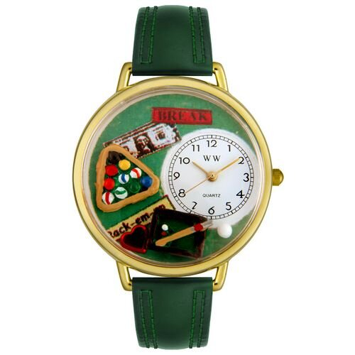 Unisex Billiards Hunter Green Leather and Goldtone Watch in Gold