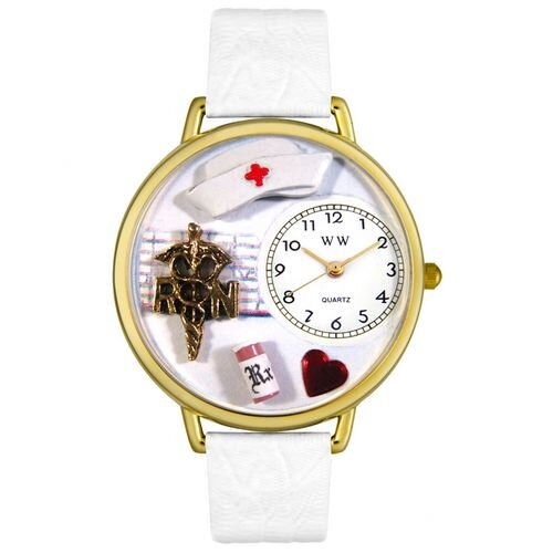 Whimsical Watches Unisex RN White Leather and Goldtone Watch in Gold