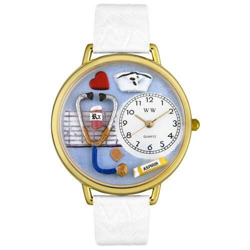 Whimsical Watches Unisex Nurse White Leather and Goldtone Watch in Gold