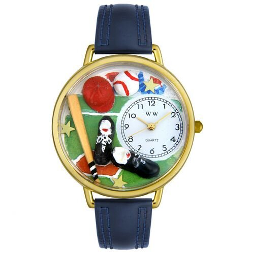 Whimsical Watches Unisex Baseball Navy Blue Leather and Goldtone Watch in Gold