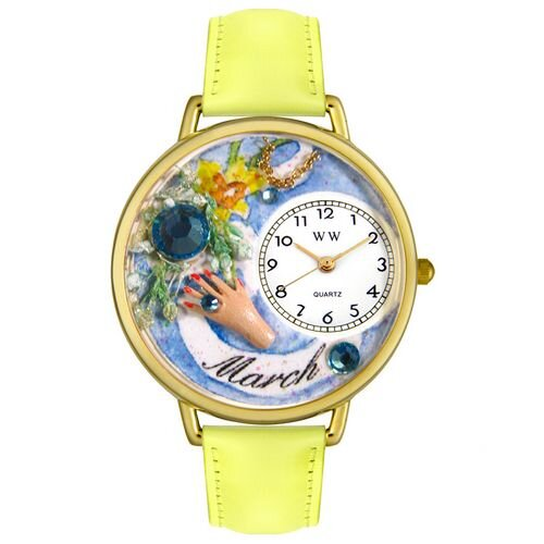 Whimsical Watches Unisex March Yellow Leather and Goldtone Watch in Gold