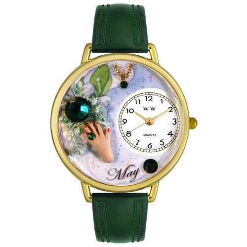Unisex May Hunter Green Leather and Goldtone Watch in Gold