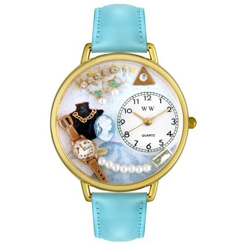 Whimsical Watches Unisex Jewelry Lover Cultured Pearls Blue Baby Blue Leather and Goldtone Watch in Gold