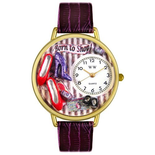 Whimsical Watches Unisex Shoe Shopper Purple Leather and Goldtone Watch in Gold