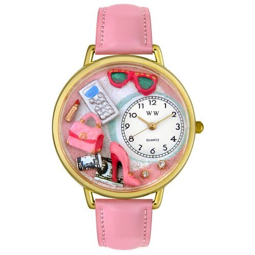 Whimsical Watches Unisex Shopper Mom Pink Leather and Goldtone Watch in Gold