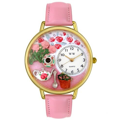 Whimsical Watches Unisex Tea Roses Pink Leather and Goldtone Watch in Gold