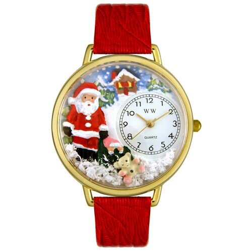 Whimsical Watches Unisex Christmas Santa Claus Red Leather and Goldtone Watch in Gold