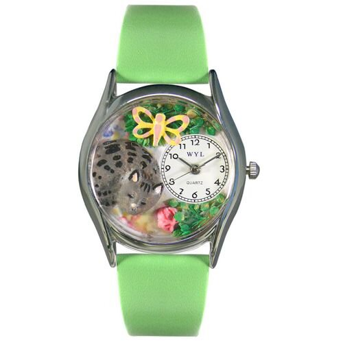 Women's Cat Nap Green Leather and Silvertone Watch in Silver