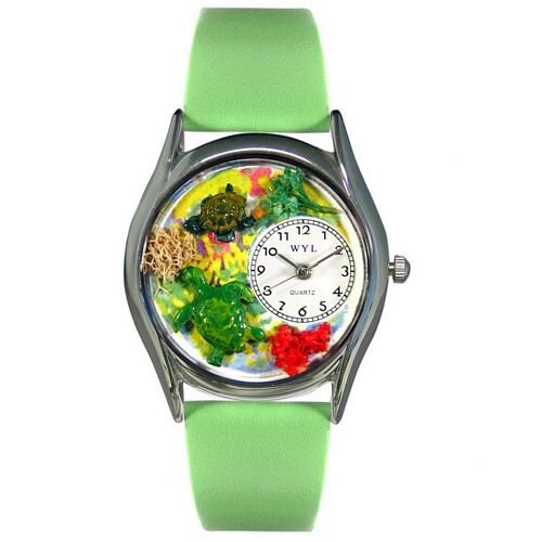 Women's Turtles Green Leather and Silvertone Watch in Silver