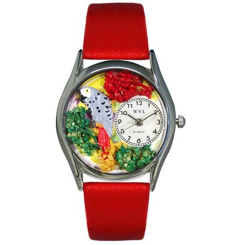 Women's African Gray Parrot Green Leather and Silvertone Watch in Silver