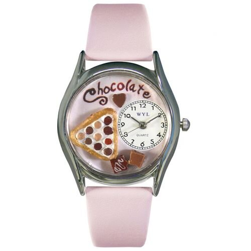 "Whimsical Watches Women""s Chocolate Lover Pink Leather and Silvertone Watch in Silver"