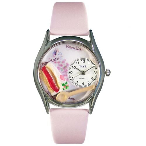 """Whimsical Watches Women""""s Pastries Pink Leather and Silvertone Watch in Silver"""