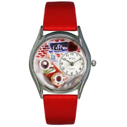 "Whimsical Watches Women""s Coffee Lover Red Leather and Silvertone Watch in Silver"