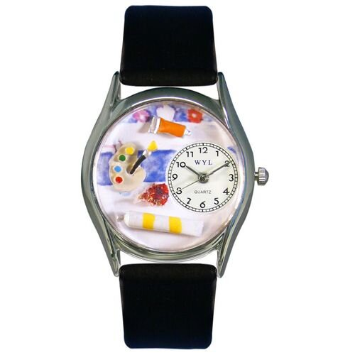 """Whimsical Watches Women""""s Artist Black Leather and Silvertone Watch in Silver"""