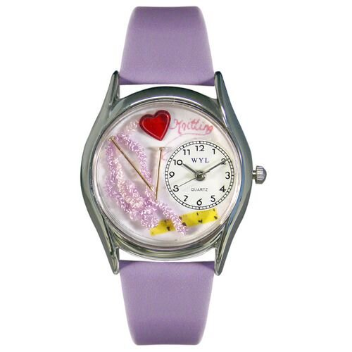 "Whimsical Watches Women""s Knitting Lavender Leather and Silvertone Watch in Silver"