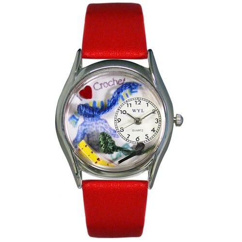 "Whimsical Watches Women""s Crochet Red Leather and Silvertone Watch in Silver"