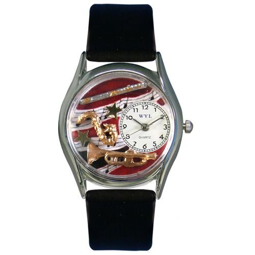 """Whimsical Watches Women""""s Wind Instruments Black Leather and Silvertone Watch in Silver"""