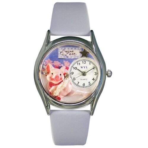 "Whimsical Watches Women""s Swine Lake Baby Blue Leather and Silvertone Watch in Silver"