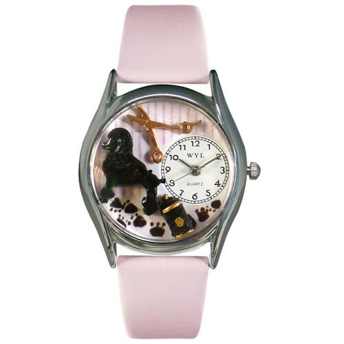 """Whimsical Watches Women""""s Dog Groomer Pink Leather and Silvertone Watch in Silver"""