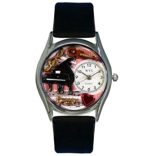 """Whimsical Watches Women""""s Music Teacher Women""""s Black Leather and Silvertone Watch in Silver"""