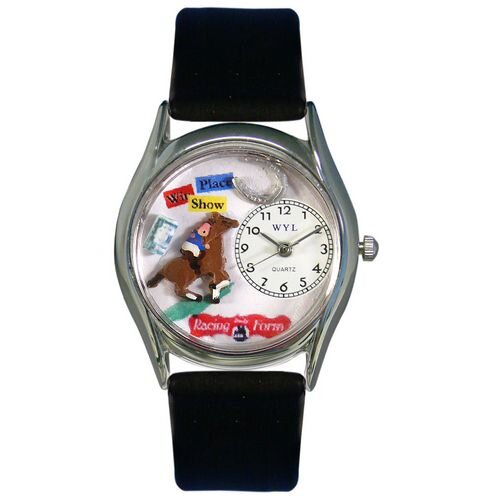 Women's Horse Racing Black Leather and Silvertone Watch in Silver