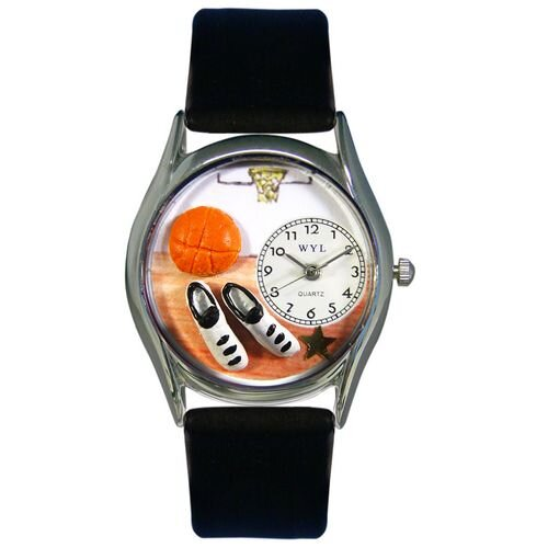 Women's Basketball Black Leather and Silvertone Watch in Silver