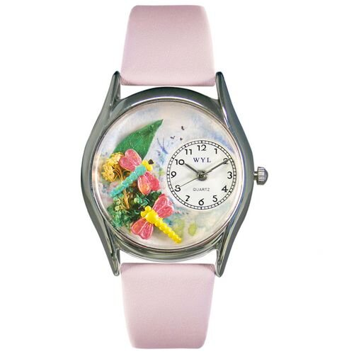 Whimsical Watches Women's Dragonflies Pink Leather and Silvertone Watch in Silver