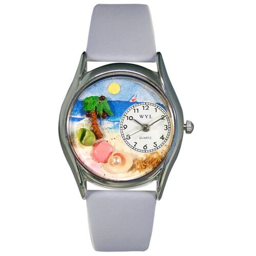 Whimsical Watches Women's Palm Tree Baby Blue Leather and Silvertone Watch in Silver