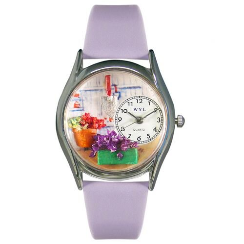 Whimsical Watches Women's Gardening Lavender Leather and Silvertone Watch in Silver