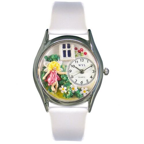 Whimsical Watches Women's Daisy Fairy White Leather and Silvertone Watch in Silver