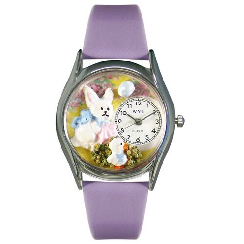 Whimsical Watches Women's Easter Bunny Yellow Leather and Silvertone Watch in Silver