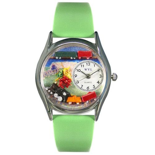 Whimsical Watches Women's Trains Green Leather and Silvertone Watch in Silver