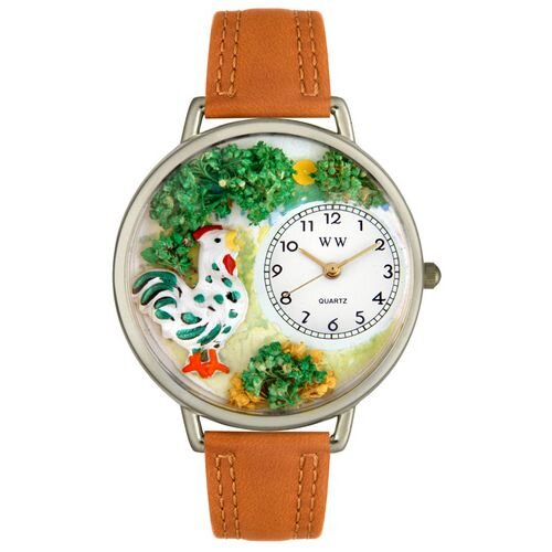 Whimsical Watches Unisex Rooster Tan Leather and Silvertone Watch in Silver