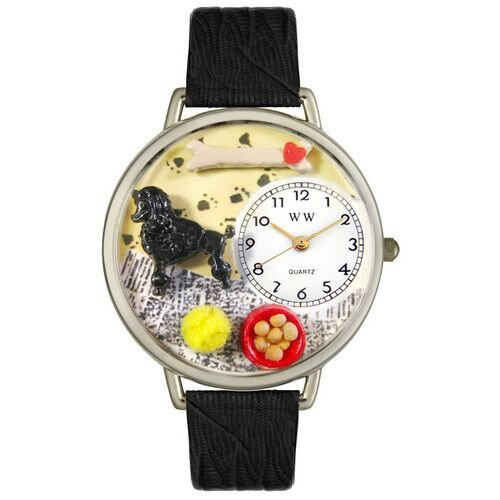 Unisex Poodle Black Skin Leather and Silvertone Watch in Silver