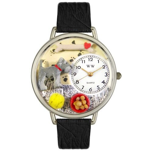 Whimsical Watches Unisex Schnauzer Black Skin Leather and Silvertone Watch in Silver