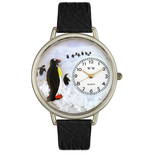 Whimsical Watches Unisex Penguin Black Skin Leather and Silvertone Watch in Silver