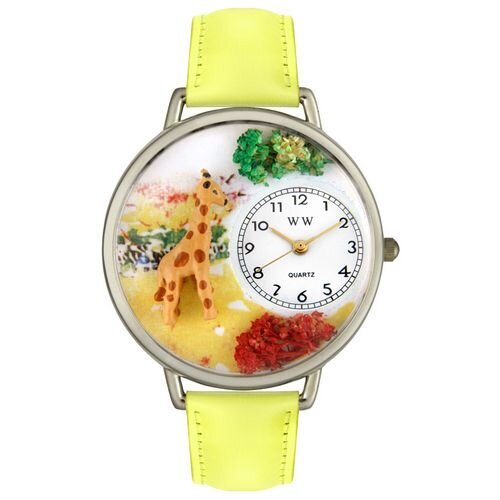 Unisex Giraffe Yellow Leather and Silvertone Watch in Silver