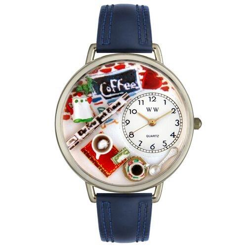 Unisex Coffee Lover Navy Blue Leather and Silvertone Watch in Silver