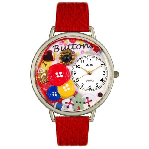 Unisex I Love Buttons Red Leather and Silvertone Watch in Silver