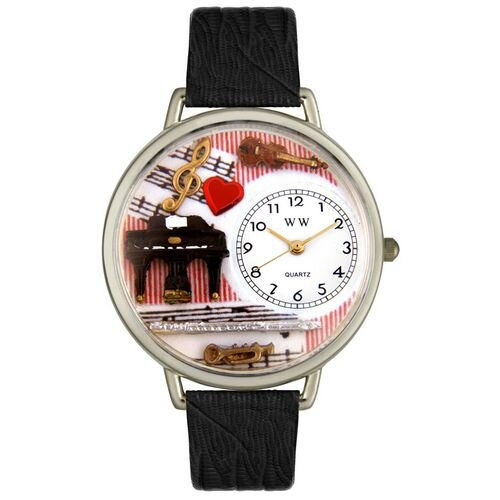 Unisex Music Teacher Black Skin Leather and Silvertone Watch in Silver