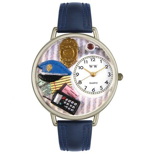 Whimsical Watches Unisex Police Officer Navy Blue Leather and Silvertone Watch in Silver