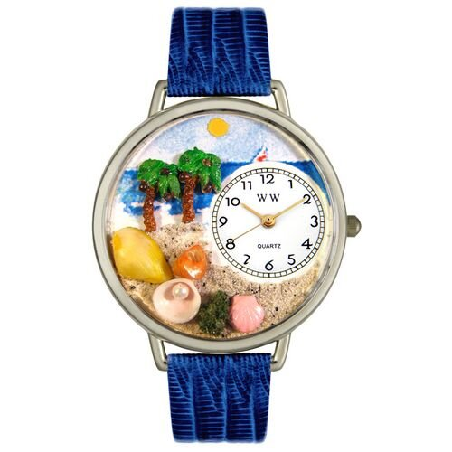 Unisex Palm Tree Royal Blue Leather and Silvertone Watch in Silver