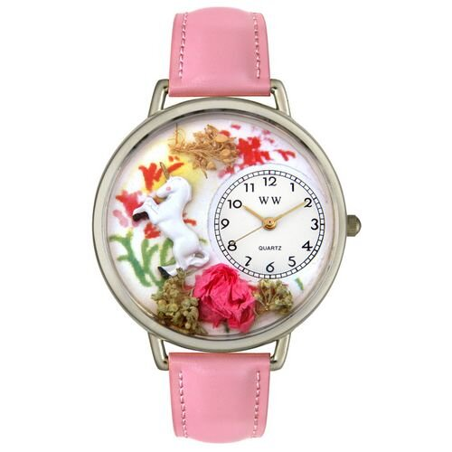 Unisex Unicorn Pink Leather and Silvertone Watch in Silver