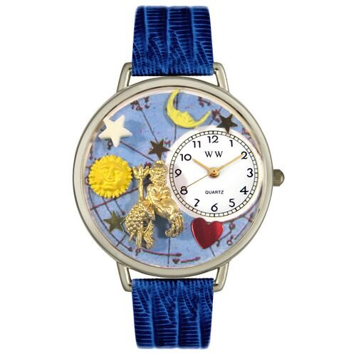 Unisex Aquarius Royal Blue Leather and Silvertone Watch in Silver
