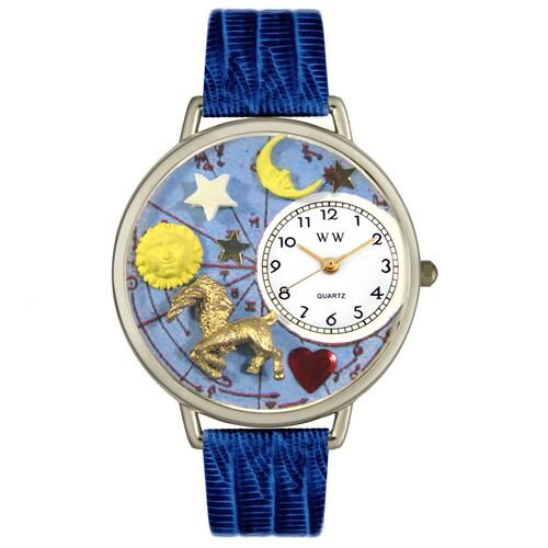 Unisex Capricorn Royal Blue Leather and Silvertone Watch in Silver