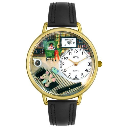 Whimsical Watches Unisex Psychiatrist Black Skin Leather and Goldtone Watch in Gold