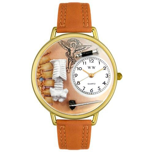 Whimsical Watches Unisex Chiropractor Black Padded Leather and Goldtone Watch in Gold