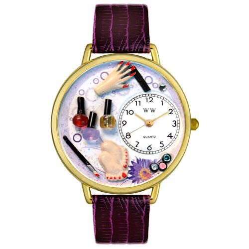 Whimsical Watches Nail Tech gold Leather and Goldtone Watch in Gold