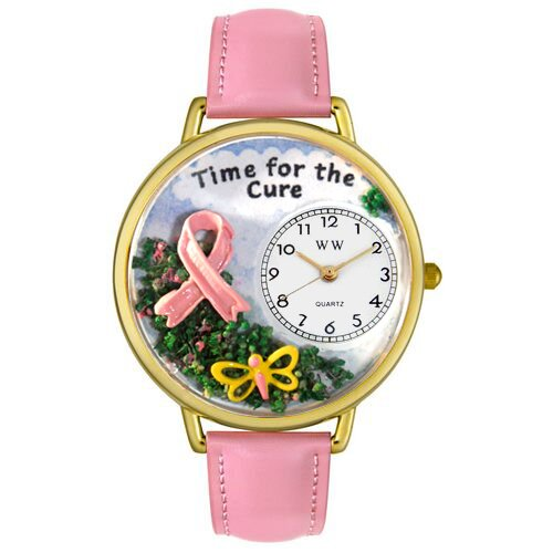 Whimsical Watches Unisex Time For The Cure Pink Leather and Goldtone Watch in Gold